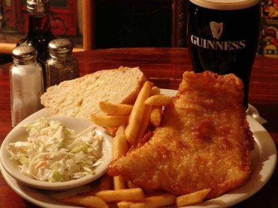 The Celtic Ray Public House : Fish & Chips-  Icelandic cod lightly battered and fried & served with chips (fries).