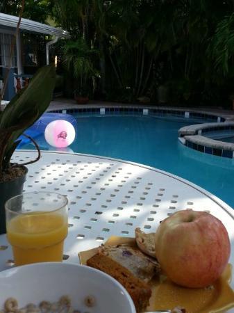 Coral Reef Guesthouse: Poolside Breakfast