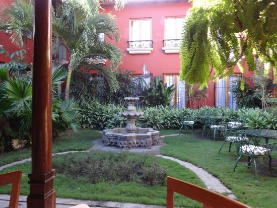 Hotel Estrada: view at breakfast.  You can watch the birds bathe in the fountain.
