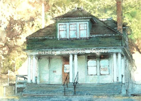 Mission Museum : Beautiful watercolour painting of the Museum building by former summer student Tams Yeow