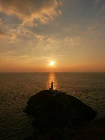 South Stack Cliffs RSPB Reserve: South Stack Lighthouse at Sunset