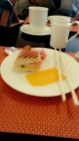 The Garden Restaurant: Panini, salmon and my hidden sushi for brekafast. 😄