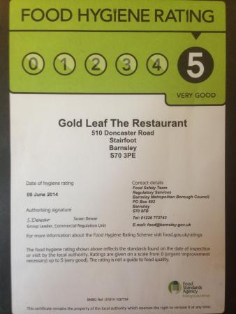 5 Star Food Hygiene Rating Picture Of Gold Leaf The