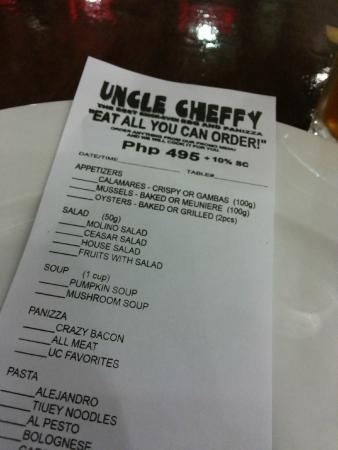 Uncle Cheffy: Eat all you can menu
