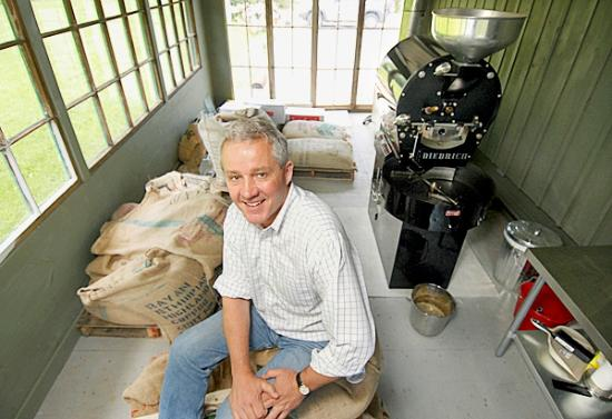Lincolnville, ME: Owner, John Ostrand, and his Diedrich Coffee Roaster