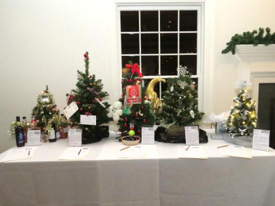 """Captain Linnell House: From Left: """"Spirits"""" Tree, Book Lover's Tree, Dog Lover's Tree, Decorator's Dazzle Tree, """"Statem"""