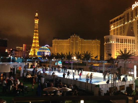 The Cosmopolitan Casino: View of the ice rink and Las Vegas strip.