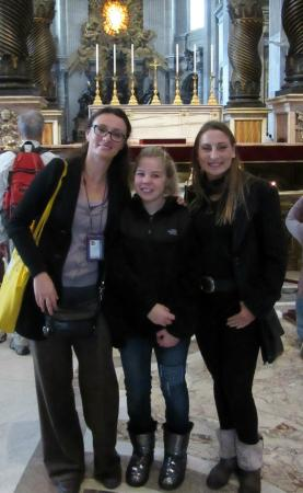 Rome Tours With Kids: Maria, Madison, & Lisa at St. Peter's Basilica