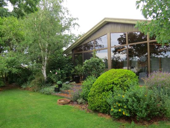 Glenhope Alpacas B&B Accommodation Armidale: The Conservatory with all its glass overlooking the gardens and paddocks