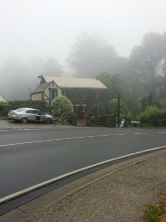 The Loft In The Mill Boutique Accommodation: View from the front with the mist