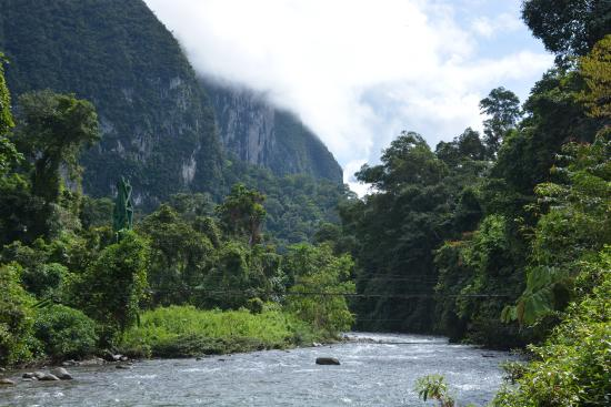 The Pinnacles Trail : Camp 5 is situated beside the upper reaches of the Melinau river