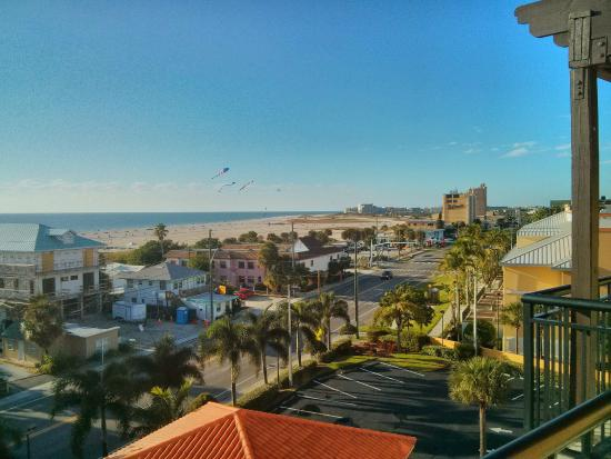 Palms of Treasure Island: North view of beach and city from balcony