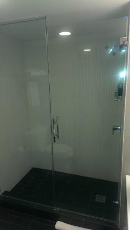 Aloft Cupertino: Nice walk in shower with eco-sensible wall dispensers for soap and shampoo