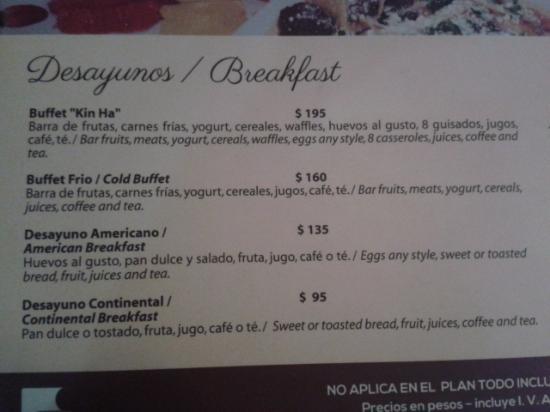 Beachscape Kin Ha Villas & Suites: preço do café da manhã em pesos mexicanos