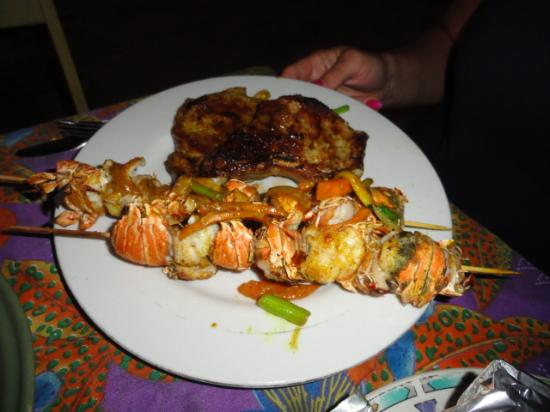 Wish Willy - Bar & Grill : lobster kebobs curried conch jerk pork