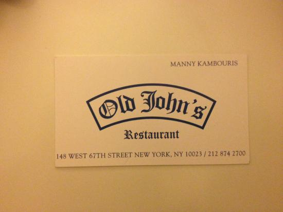 Business card shows address picture of old johns luncheonette old johns luncheonette business card shows address reheart Images