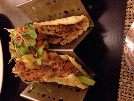 Josselin's Tapas Bar & Grill: Duck confit and shrimp tacos artfully combine both flavor and texture