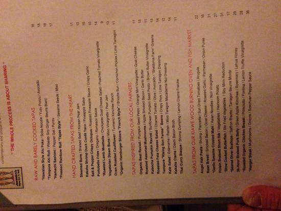 Josselin's Tapas Bar & Grill: The menu