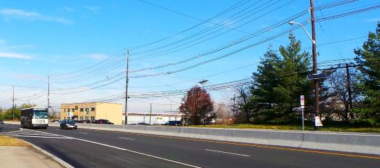 Hampton Inn Carlstadt-At The Meadowlands: View from Bus stop to take you into Manhattan