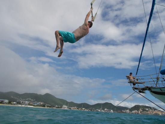 Simpson Bay, St. Maarten-St. Martin: Jay on the Tarzan swing
