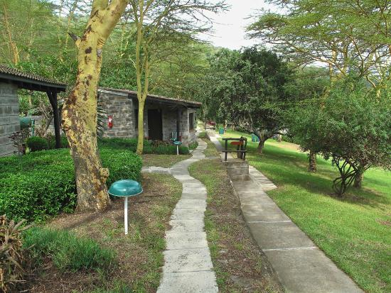 walkways and landscaped gardens to various room blocks.
