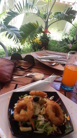 At Linda's Place : Half a calamari salad. Njom