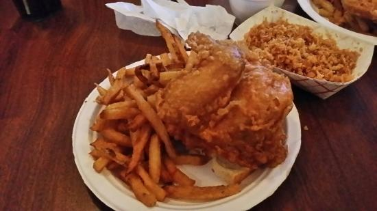 Rip's Tavern: A quarter chicken white with fries. Krispies from the fryer in the right hand corner.