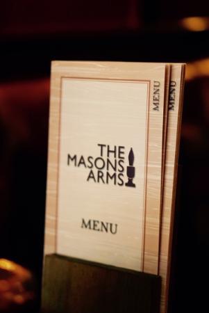 Menu at The Masons Arms