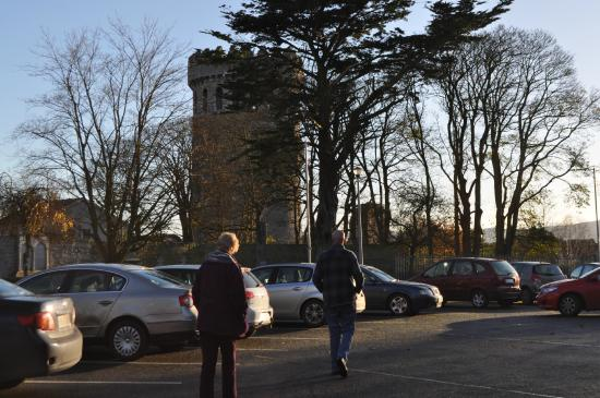 Nenagh Castle: cars in church lot .Don't think tourist can park here