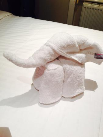 Waterside Hotel: Elephant towel! Cute!