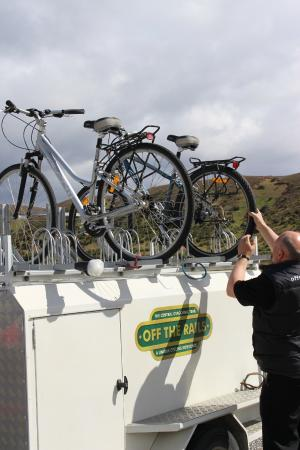 Off The Rails Cycle Tours: Nick unloading my bike for the Central Otago Rail Trail