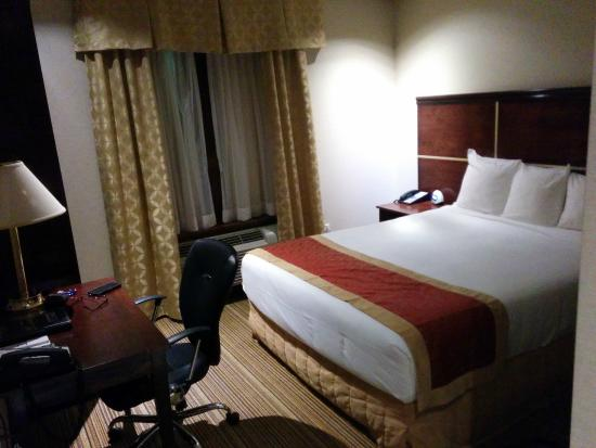 Woodbine Hotel & Suites: Small but comfortable room with everything you need.