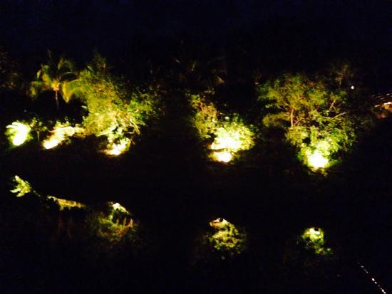 Agave Azul at Rosewood Mayakoba: Night view from terraceover the centre river