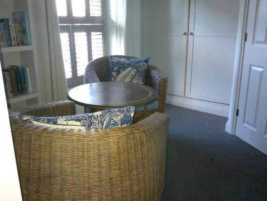 The Seafood Restaurant Accommodation: Sitting room and wardrobes St Neot