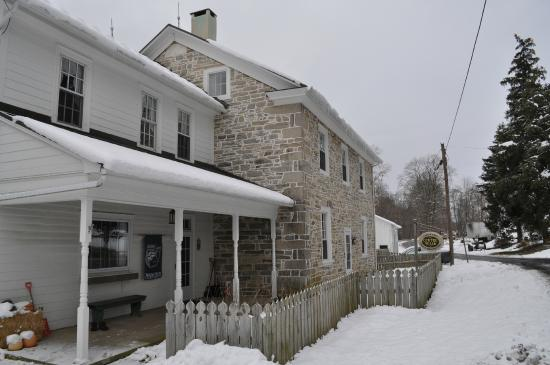 Rebersburg, PA: The front of the B&B in snow.