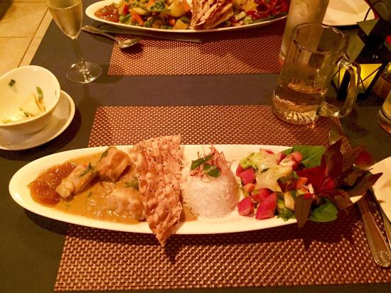 Bombay Chopsticks: Curried grouper with basmati rice, and a salad made from apples, dragon fruit, red onion, cucumb