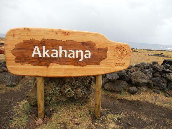 Ahu Akahanga: Sign at site