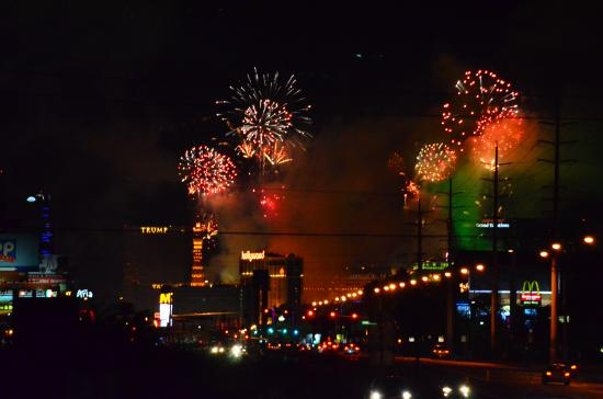 Hilton Garden Inn Las Vegas Strip South: New Year's from across the road