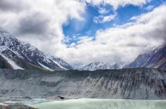 Kea Point Track: View of Mt Cook from Kea Point partially covered by clouds