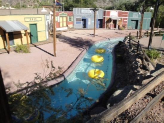 Lazy River Overlooking Ghost Town In The Water Park