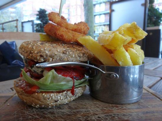 Lord's Tavern: VEGGIE BURGER Grilled portobello mushrooms, piquilla pepper, goat's cheese & ketchup tartar reli