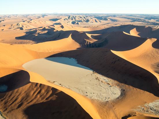 Sossusvlei Lodge: The Namib Desert from helicopter