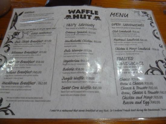 The Waffle Hut: Menu