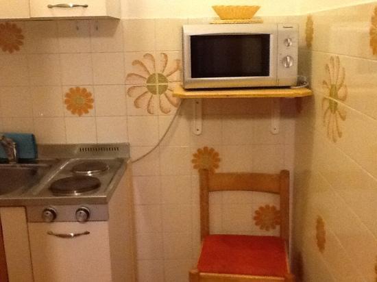 Residence Alaska : minuscola cucina con forno a microonde....ma le prese per renderlo funzionante non esistono...un