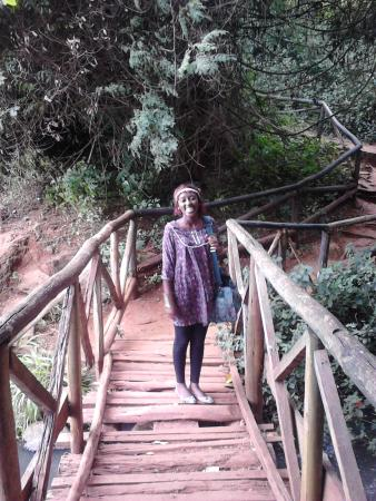 Paradise lost: a smallthe bridge leading to the waterfall and caves