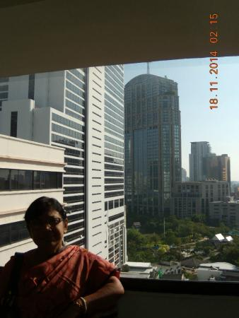 Marvel Hotel Bangkok: View from corridor in front of the room on 17th floor
