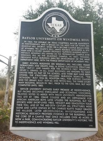 Independence, Teksas: Baylor University on Windmill Hill - Historical Marker
