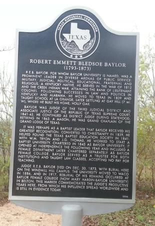 Independence, TX: Judge R.E.B. Baylor original grave-site - Historical Marker