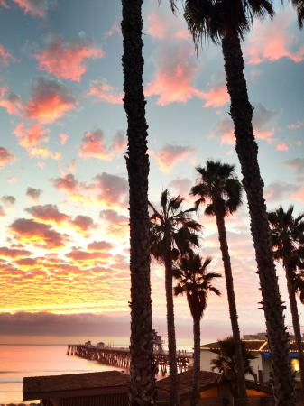 sunset view of the San Clemente Pier, from Casa Tropicana
