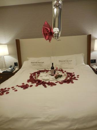The Langham, Chicago : I asked for roses in a heart shape this is what they did/ I brought the pillow cases for anniver